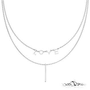"""Dvojitý ocelový náhrdelník """"LOVE"""""""