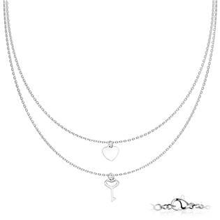 Dvojitý ocelový náhrdelník s klíčkem a srdíčkem