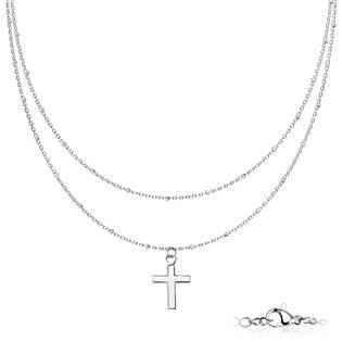 Dvojitý ocelový náhrdelník s křížkem