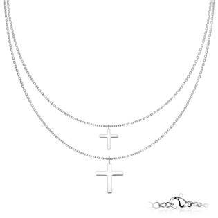 Dvojitý ocelový náhrdelník s křížky