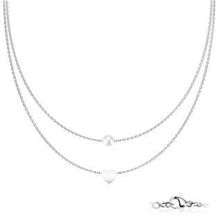 Dvojitý ocelový náhrdelník se srdíčkem a perličkou