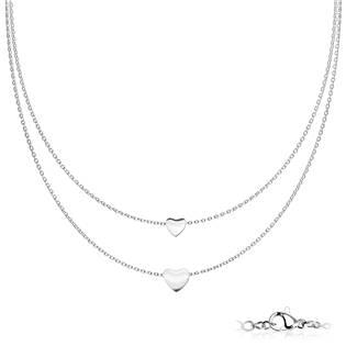 Dvojitý ocelový náhrdelník se srdíčky