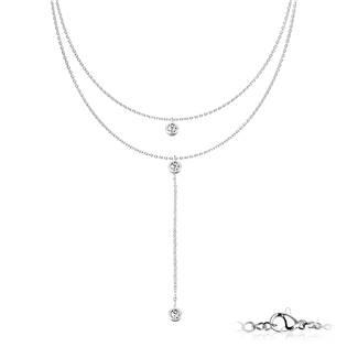 Dvojitý ocelový náhrdelník se zirkony