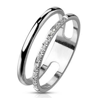 Dvojitý ocelový prsten se zirkony
