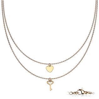 Dvojitý zlacený ocelový náhrdelník s klíčkem a srdíčkem