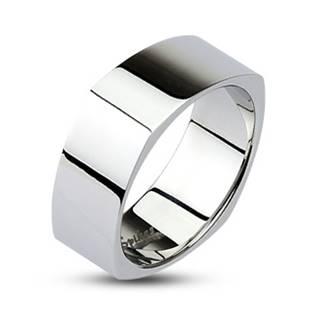 Hranatý ocelový prsten lesklý, šíře 6 mm