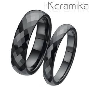 KM1002 Keramické snubní prsteny šíře 4mm + 6mm - pár