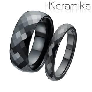 KM1002 Keramické snubní prsteny šíře 4mm + 8mm - pár