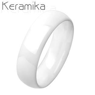 KM1013-6 Dámský keramický prsten bílý, šíře 6 mm