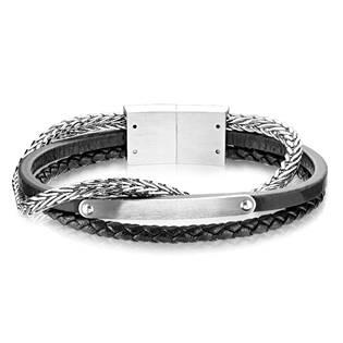 Kožený náramek s ocelovým řetězem a destičkou, délka 20 cm