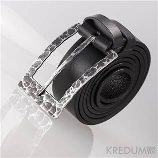 Kožený opasek 4 cm - kovaná nerezová spona - Partner 4X - Draill, barva černá