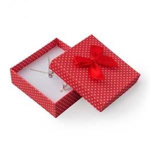 Krabička na soupravu šperků červená, bílé puntíky