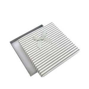 Krabička na soupravu šperků velká, šedé pruhy