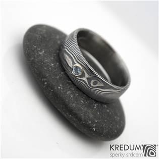KS1001-AM Dámský prsten Damasteel Prima Akvamarín