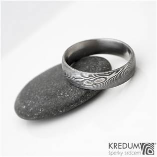 KS1001 Pánský snubní prsten Damasteel Prima
