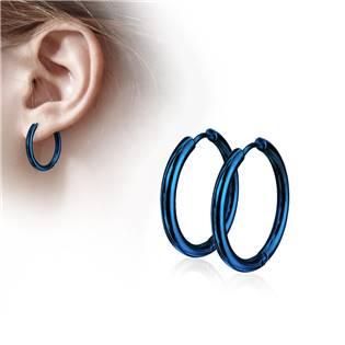 Modré ocelové náušnice - kruhy 21 mm