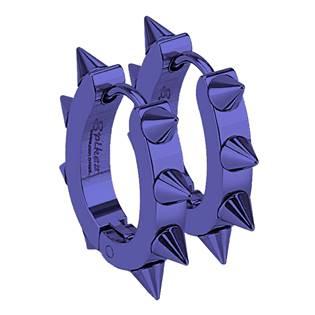Modré ocelové náušnice s ostny