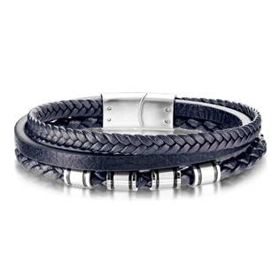 Modrý kožený náramek s ocelovými komponenty, délka 20 cm