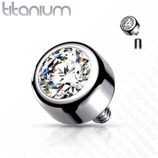 Náhradní kamínek k dermálu TITAN, závit 1,6 mm, 5mm, barva: čirá