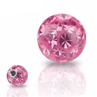 Náhradní kulička s krystaly Swarovski®, 10 mm, závit 1,6 mm, barva ROSE
