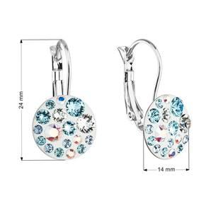 Náušnice bižuterie se Swarovski krystaly, Aquamarine