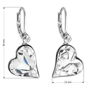 Náušnice bižuterie se Swarovski krystaly bílá srdce 51054.1