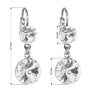 Náušnice bižuterie se Swarovski krystaly bílé kulaté 51044.1