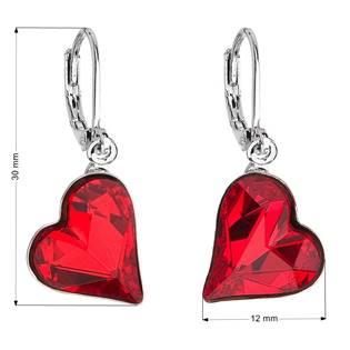 Náušnice bižuterie se Swarovski krystaly červená srdce 51054.3