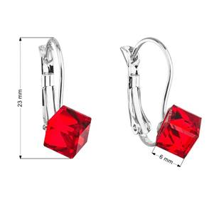 Náušnice bižuterie se Swarovski krystaly červené kostička 51025.3