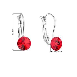 Náušnice bižuterie se Swarovski krystaly červené kulaté 51031.3