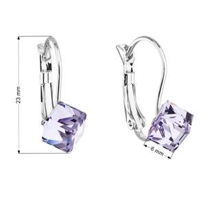 Náušnice bižuterie se Swarovski krystaly fialové kostička 51025.3