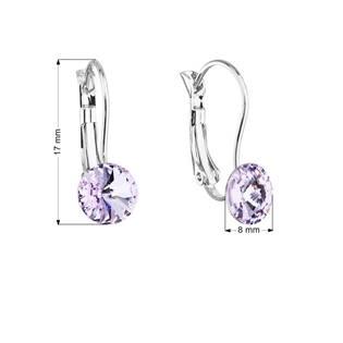 Náušnice bižuterie se Swarovski krystaly fialové kulaté 51031.3 violet