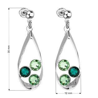 Náušnice bižuterie se Swarovski krystaly mix barev, Emerald