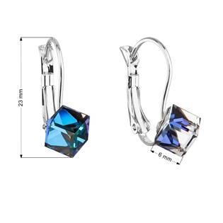 Náušnice bižuterie se Swarovski krystaly modré kostička 51025.5