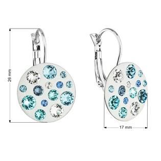 Náušnice bižuterie se Swarovski krystaly modré kulaté