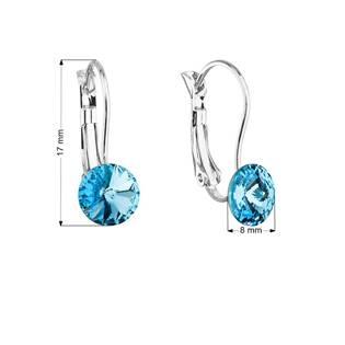 Náušnice bižuterie se Swarovski krystaly modré kulaté 51031.3 aqua