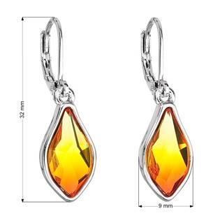 Náušnice bižuterie se Swarovski krystaly oranžová kapka , Fire Opal