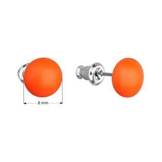 Náušnice bižuterie se Swarovski krystaly oranžové kulaté, Neon Orange