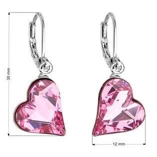 Náušnice bižuterie se Swarovski krystaly růžová srdce 51054.3