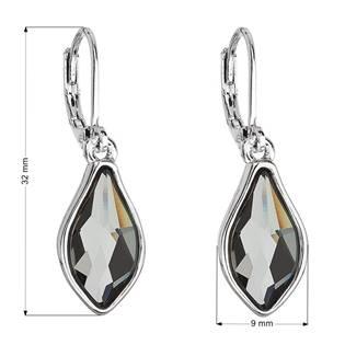 Náušnice bižuterie se Swarovski krystaly šedá kapka, Silver Night