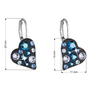 Náušnice bižuterie se Swarovski krystaly srdce, Metalic Blue