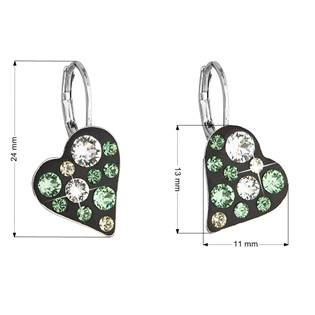Náušnice bižuterie se Swarovski krystaly srdce, Peridot