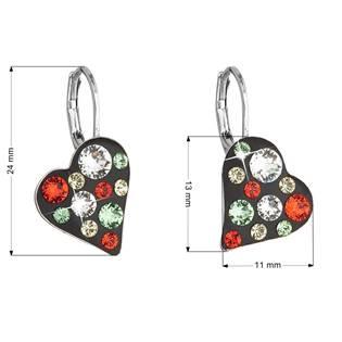 Náušnice bižuterie se Swarovski krystaly srdce, Siam Red