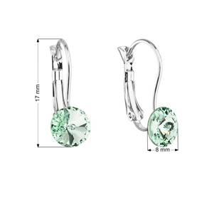 Náušnice bižuterie se Swarovski krystaly zelené kulaté 51031.3