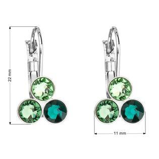 Náušnice bižuterie se Swarovski krystaly zelené kulaté 51047.3