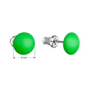 Náušnice bižuterie se Swarovski krystaly zelené kulaté, Neon Green