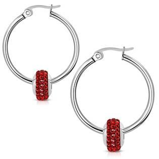Náušnice kruhy s korálkem, červené kamínky