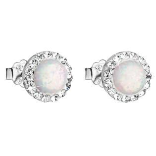 Náušnice s kamínky Crystals from Swarovski® a opály, White