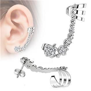Náušnice s klipem a čirými zirkony, levé ucho