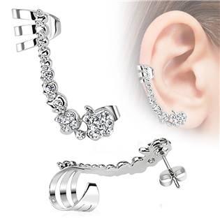 Náušnice s klipem a čirými zirkony, pravé ucho